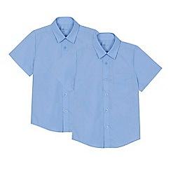 Debenhams - 'Set of 2 boys' blue short sleeve regular fit school shirts