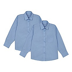 Debenhams - Set of 2 girls' blue long sleeve regular fit school blouses