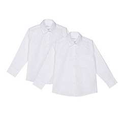 Debenhams - 'Set of 2 girls' white long sleeve regular fit school blouses
