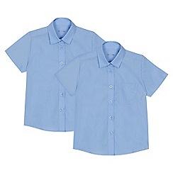 Debenhams - Set of 2 girls' blue short sleeve regular fit school blouses
