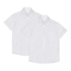 Debenhams - Set of 2 girls' white short sleeve regular fit school blouses
