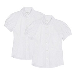 Debenhams - Pack of 2 girls' white short sleeve blouses