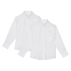 Debenhams - Set of 2 girls' white long sleeve fitted school blouses