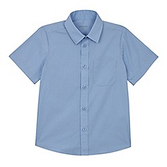 Debenhams - Set of 2 boys' blue short sleeve slim fit school shirts
