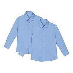 Debenhams - 'Set of 2 boys' blue slim fit school shirts