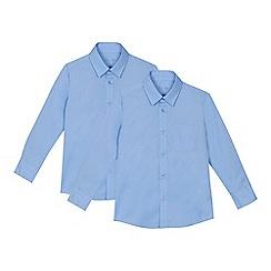 Debenhams - 'Set of 2 boys' blue slim fit school shirts