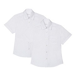 Debenhams - 'Set of 2 boys' white short sleeve slim fit school shirts