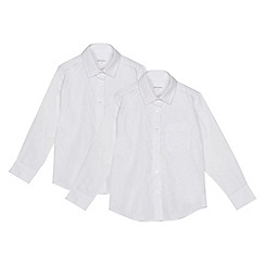 Debenhams - Set of 2 girls' white long sleeve generous fit school blouses