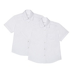Debenhams - 'Set of 2 boys' white short sleeve generous fit school shirts