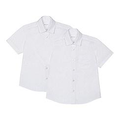 Debenhams - 'Set of 2 boys' white short sleeve generous fit school shirts