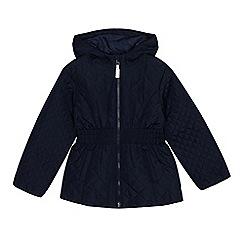 Debenhams - Girls' navy quilted coat