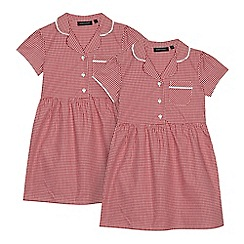 Debenhams - Pack of two girls' red gingham print school dresses