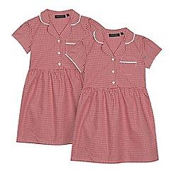 Debenhams - Pack of two girls' red gingham print school dresses