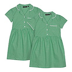 Debenhams - Pack of two girls' green gingham print school dresses