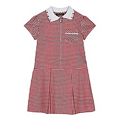 Debenhams - Girls' red gingham print zip neck school dress