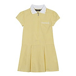 Debenhams - Girls' yellow gingham print zip neck school dress