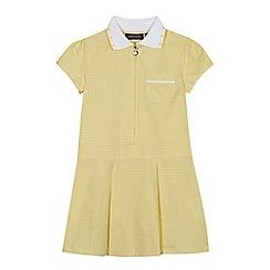 Debenhams - Girls' yellow gingham print zip neck school dress