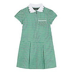 Debenhams - Girls' green gingham print zip neck school dress