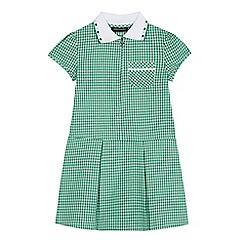 Debenhams - Girls' green gingham print zip neck school dress