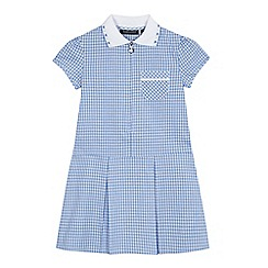 Debenhams - Girls' blue gingham print zip neck school dress