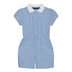 Debenhams - Girls' blue gingham print zip neck school playsuit