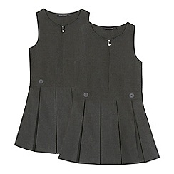 Debenhams - '2 pack girls' grey school pinafores