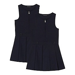 Debenhams - 2 pack girls' navy 'Teflon' school pinafore