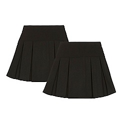 Debenhams - 2 pack girls' black kilt skirts