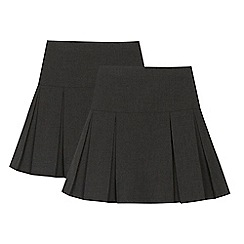 Debenhams - 2 pack girls' grey kilt skirts