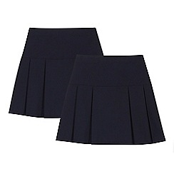 Debenhams - 2 pack girls' navy kilt skirts