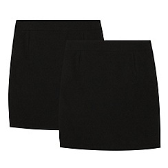 Debenhams - 2 pack girls' black pencil skirts