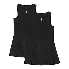 Debenhams - 2 pack girls' black 'Teflon' school pinafore