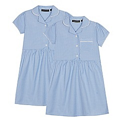 Debenhams - 2 Pack Light Blue Gingham Dresses