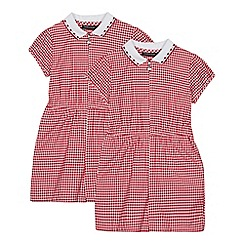 Debenhams - 2 Pack Girls' Red Gingham Playsuits