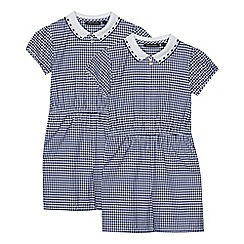 Debenhams - 2 Pack Girls' Navy Gingham Playsuits