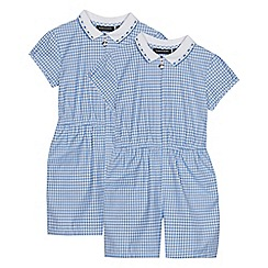 Debenhams - 2 Pack Girls' Light Blue Gingham Playsuits
