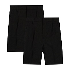 Debenhams - 2 Pack Kids' Black Classic School Shorts
