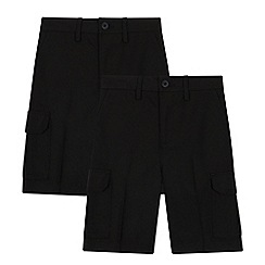 Debenhams - 2 Pack Kids' Black Cargo Shorts