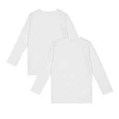 Debenhams - Pack of two children's white long sleeve t-shirts