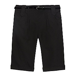 Debenhams - Girls' black city shorts with belt