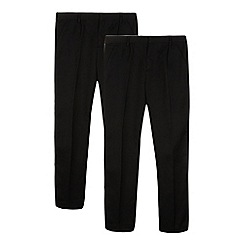 Debenhams - Pack of two boy's black pleat front school trousers
