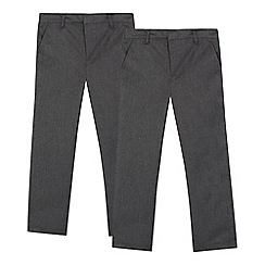 Debenhams - Pack of two boys' grey flat front school trousers