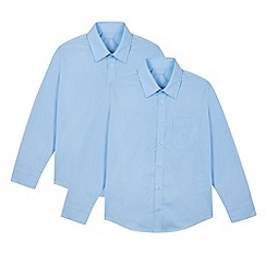 Debenhams - Pack of two boy's blue long sleeved school shirts