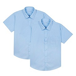 Debenhams - Pack of two boy's blue short sleeved school shirts
