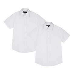 Debenhams - Pack of two boy's white short sleeved school shirts