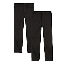 Debenhams - Pack of two senior boys' black skinny school trousers