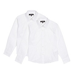Debenhams - Pack of two girl's white long sleeved school blouses