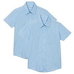 Debenhams - Pack of two girl's blue short sleeved school blouses