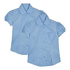 Debenhams - Set of 2 girls' blue short sleeve fitted school shirts
