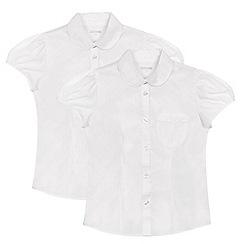 Debenhams - Set of 2 girls' white short sleeve fitted school shirts